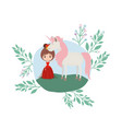 princess with unicorn in the camp vector image