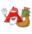 santa with gift triangel mascot cartoon style vector image vector image