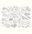 seafood bid collection line design elements vector image vector image