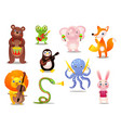 set cute colorful musician animals with vector image vector image