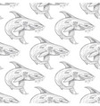 shark pattern on white background vector image vector image