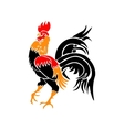 Stylized red rooster isolated on white background