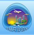 summer vacation logo template sunset with resort vector image vector image