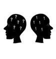 two head profile silhouette with question mark vector image