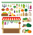 village food market icons flat vector image vector image