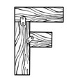 wooden letter f engraving vector image