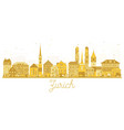 zurich switzerland city skyline golden silhouette vector image vector image
