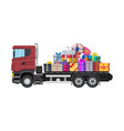 pile of gift boxes on truck vector image