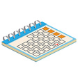 Isometric Calendar Icon For web design and vector image