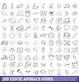 100 exotic animals icons set outline style vector image vector image
