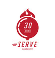30 minutes hot serve with wood board vector image vector image