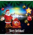 Abstract celebration with Santa Claus and panorama vector image