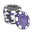 Black and violet stacks of gambling chips vector image vector image