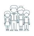 blue contour faceless family group in formal suit vector image vector image