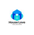 blue home love icon logo premium vector image vector image
