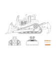 bulldozer in outline style vector image vector image