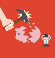 businessman sit and suffered because piggy bank vector image vector image
