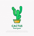 cactus in pot thin line icon modern vector image