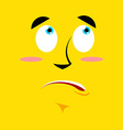 Cartoon surprised face on yellow background vector image