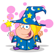 Cartoon wizards casting spells vector image vector image