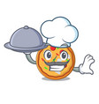 chef with food pizza mascot cartoon style vector image vector image