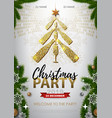 christmas party poster with golden champagne vector image vector image