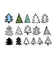 christmas trees cute hand drawn design set vector image vector image
