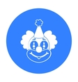Clown icon in black style isolated on white vector image