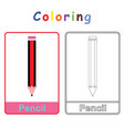 coloring of pencil vector image vector image