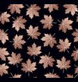 copper maple leaf seamless pattern background vector image