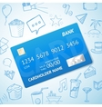 Credit card with set of doodle icons hand vector image