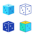 dice icon set in flat and line style vector image