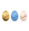 easter egg 3d icon gold pastel eggs set vector image vector image