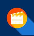 film clap board cinema sign white icon on vector image vector image