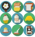 Flat color round icons for breakfast vector image vector image