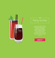 fun party drinks poster bloody mary whiskey cola vector image vector image