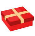 gift box with ribbon flat design vector image vector image