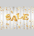gold sale balloons background on white curtain vector image vector image