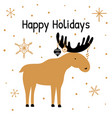greeting card with hand drawn christmas elk and vector image
