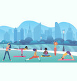 group women doing yoga in public city park vector image vector image
