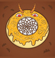 halloween donut scary monster vector image vector image