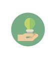 hand with saving light bulb green energy block vector image vector image