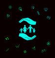 hands holding a symbol of family family protect vector image vector image