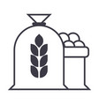 harvest wheat bag line icon sign vector image vector image