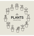icons of pot plants garden vector image vector image