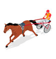isometric jockey and horse racing horse competing vector image