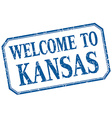Kansas - welcome blue vintage isolated label vector image vector image
