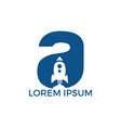 letter a rocket logo design vector image