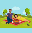 love couple on a picnic in nature vector image