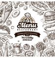 menu restaurant cafe template design hand drawn vector image